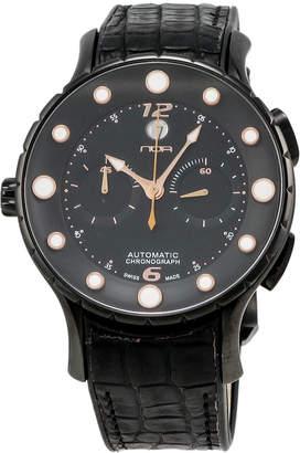 N.O.A. Watches Alligator-Strap Chronograph Watch, Black