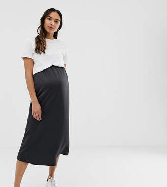 Asos DESIGN Maternity bias cut satin slip midi skirt