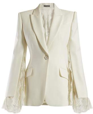 Alexander McQueen Lace Trimmed Single Breasted Crepe Blazer - Womens - Ivory
