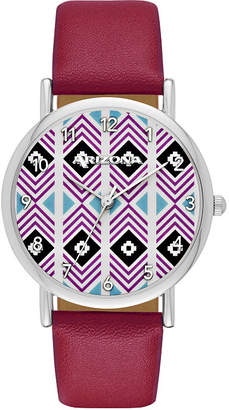 Arizona Womens Silver Tone Aztec Dial Maroon Strap Watch