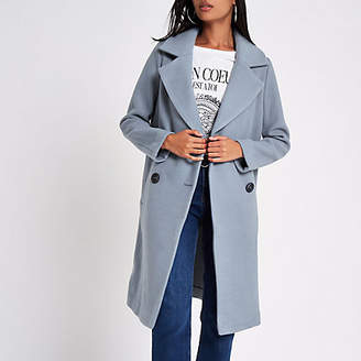 River Island Womens Blue wool double breasted coat
