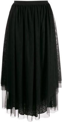 Twin-Set flared tulle midi skirt