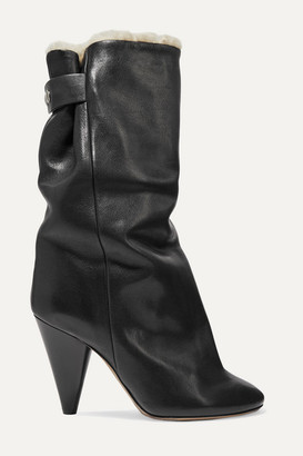 Isabel Marant Lakfee Shearling-lined Leather Ankle Boots - Black