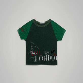 Burberry Raglan-sleeve Adventure Motif Cotton Blend T-shirt