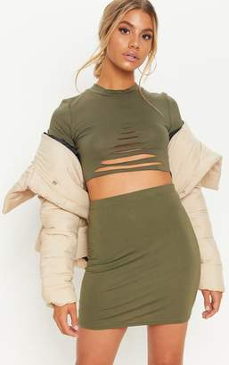PrettyLittleThing Khaki Slash Detail Crop T Shirt