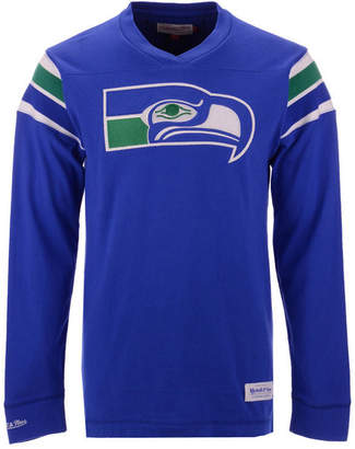 Mitchell & Ness Men Seattle Seahawks Team Captain V-Neck Long Sleeve T-Shirt