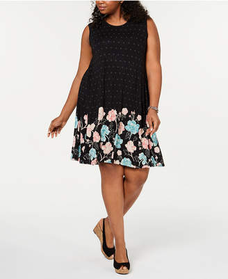 Style&Co. Style & Co Plus Size Sleeveless Printed-Skirt A-Line Dress