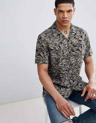 Antony Morato Revere Collar Short Sleeve Shirt In Black With Leaf Print