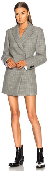 CALVIN KLEIN 205W39NYC Double Face Glen Plaid High Twisted Wool Blazer Dress