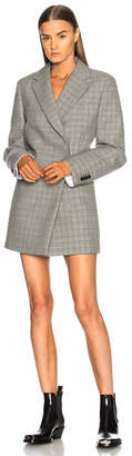 CALVIN KLEIN 205W39NYC Double Face Glen Plaid High Twisted Wool Blazer Dress