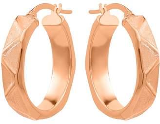 14K Geometric Pattern Oval Hoop Earrings