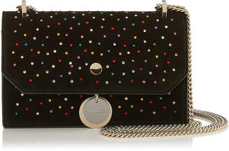Jimmy Choo FINLEY Black Suede Cross Body Mini Bag with Scattered Crystals