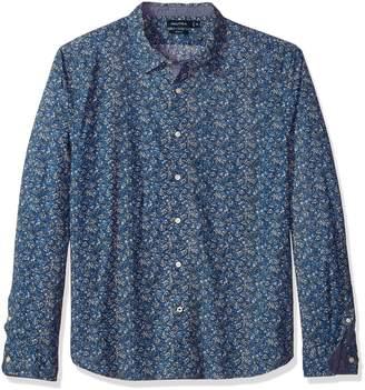 Nautica Men's Long Sleeve Printed Poplin Straight Collar Slim Fit Shirt