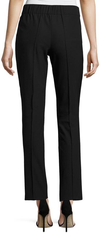 Misook Slim-Leg Stretch Techno Pants, Black