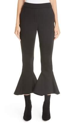 Beaufille Ruffle Bell Bottom Neoprene Pants
