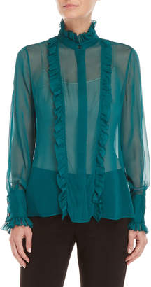 Carolina Herrera Sheer Ruffled High Neck Blouse