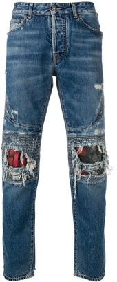 Marcelo Burlon County of Milan distressed biker jeans