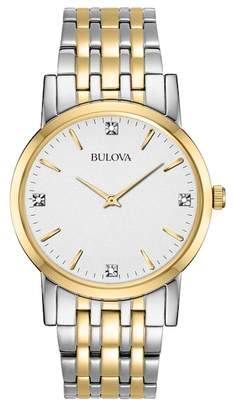 Bulova Men's Quartz Two-Tone Diamond Bracelet Watch, 38mm - 0.02 ctw