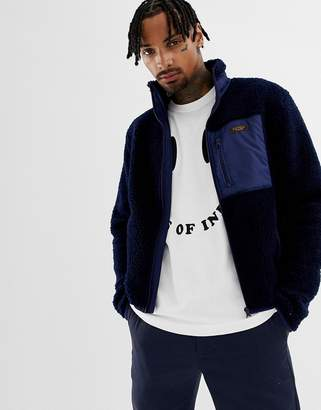 Kings Of Indigo recycled polyester navy borg jacket