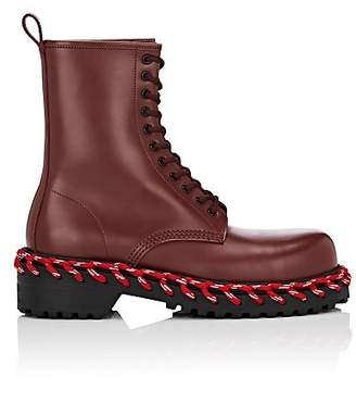 Balenciaga Women's Leather Combat Boots - Wine