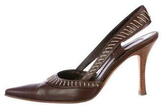 Sergio Rossi Leather Slingback Pumps