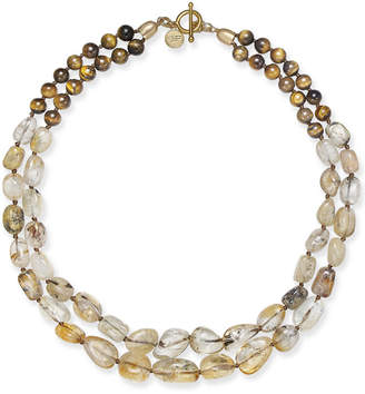 Paul & Pitu Naturally 14k Gold-Plated Tiger's Eye and Citrine Double Collar Necklace