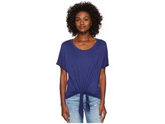 Three Dots Refined Jersey Tie Front Tee