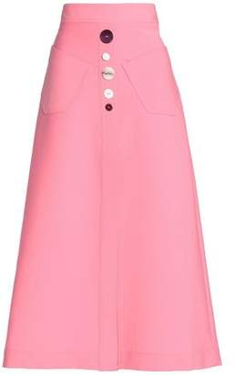 Ellery Button-Embellished Woven Midi Skirt