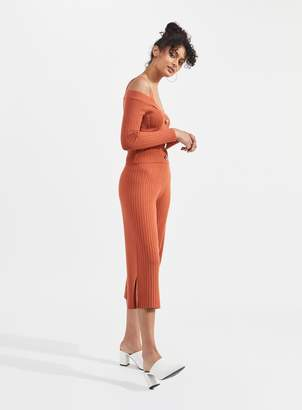 Miss Selfridge Rust Ribbed Knitted Culottes