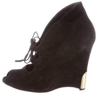 Gianvito Rossi Suede Wedge Ankle Boots
