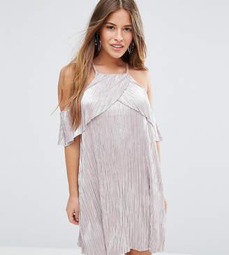 Asos Metallic Pleat Double Layer Dress