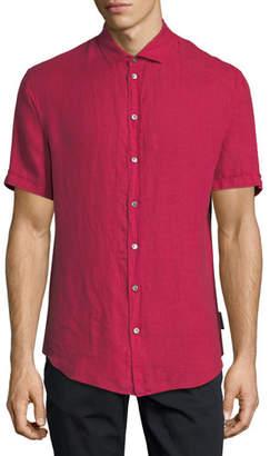 Emporio Armani Short-Sleeve Woven Linen Shirt