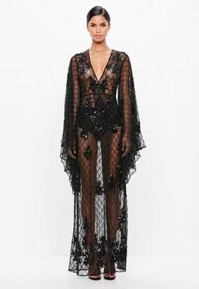 Missguided Black Kimono Sleeve Embellished Dress