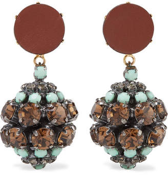 Marni Gold And Silver-tone, Crystal And Leather Clip Earrings - Mint