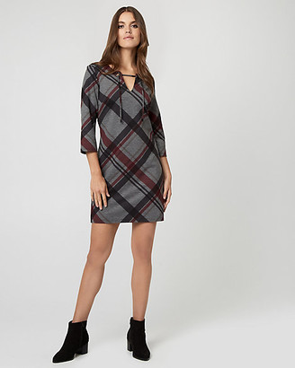 Le Château Check Print Ponte Lace-Up Neck Dress