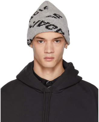 Balenciaga Grey All Over Logo Beanie