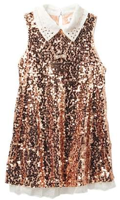 Beautees Sequin Dress with Necklace (Big Girls)