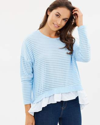 French Connection Beka Ribbed Jersey Top