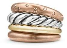 David Yurman Pure Form® Mixed Metal Four-Row Ring With Diamonds,
