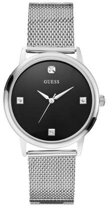 GUESS Men's Stainless Steel Diamond Black Dial Mesh Bracelet Watch