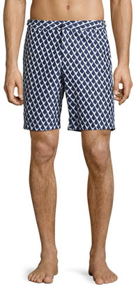 Orlebar Brown Dane 2 Graphic Swim Trunks, Navy $275 thestylecure.com