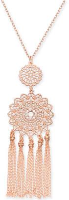 "INC International Concepts I.n.c. Rose Gold-Tone Filigree & Fringe Pendant Necklace, 32"" + 3"" extender, Created for Macy's"