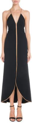 Victoria Beckham V-Neck Leather Cami-Straps Tulip Midi Dress