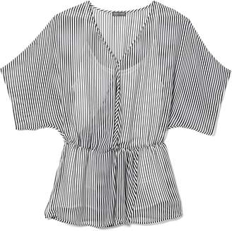 Vince Camuto Striped Cinched-waist Top