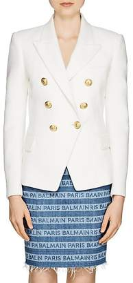 Balmain Women's Cotton Double-Breasted Blazer - White