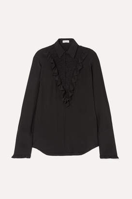 Sonia Rykiel Ruffled Silk Crepe De Chine Shirt - Black