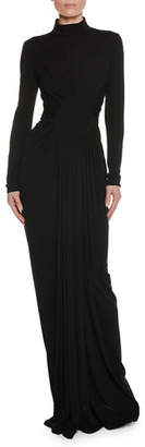 Tom Ford Long-Sleeve Turtleneck Shirred Circle-Center Evening Gown