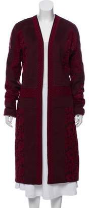 J. Mendel Lace-Accented Open Front Coat
