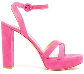 Gianvito Rossi Poppy 85 Suede Platform Sandals - Womens - Fuchsia