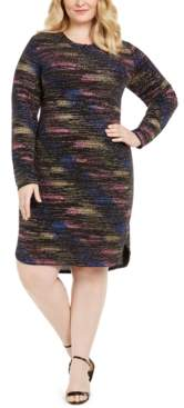B. Darlin Plus Size Long-Sleeve Metallic Sheath Dress